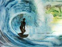 Welle, Surfen, Natur, Aquarellmalerei