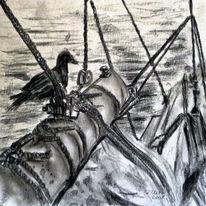 Schiff, Natur tiere, Zeichnung, Landschaft