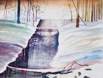 Bach, Baum, Aquarellmalerei, Schnee