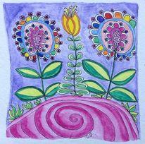 Zeichnung, Lebensfreude, Farben, Gekritzel