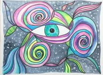 Gekritzel, Augen, Aquarellstifte, Zeichnung
