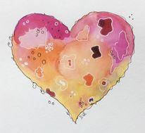 Aquarellmalerei, Fantasie, Herz, Zeichnung