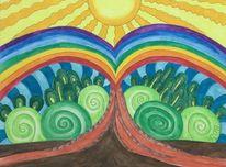Baum, Zeichnung, Regenbogen, Farben