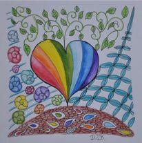 Fantasie, Regenbogen, Herz, Aquarellstifte