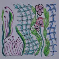 Aquarellstifte, Vernetzung, Gekritzel, Linie