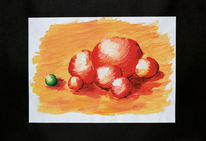 Kugel, Rot, Flächig, Acrylmalerei