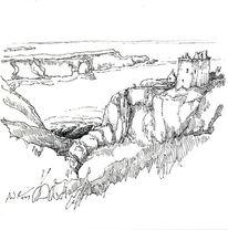 Schottland, Dunnottar castle, Zeichnungen,
