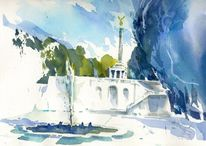 Aquarellmalerei, Sehenswürdigkeit, Springbrunnen, Säule