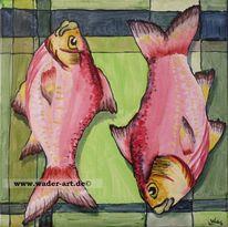 Karpfen, Malerei, Inchie, Fisch