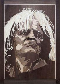Marketerie, Holz, Portrait, Messertechnik