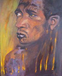 Farben, Afrika, Mann, Malerei