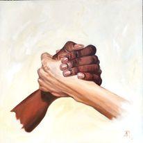 Weiß, Braun, Hände, Malerei