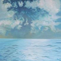 Meer, Hellblau, Wolken, Blau