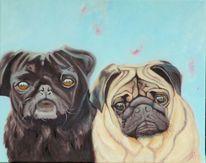 Tiere, Hund, Mops, Malerei