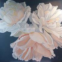 Rosa, Ölmalerei, Blumen, Blüte