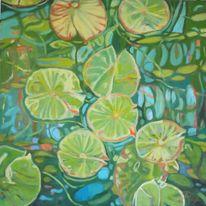 Grün, Seerosen, Wasser, Malerei