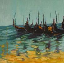 Gelb, Gondel, Ölmalerei, Hellblau