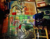Frau, Skizze, Digitale kunst, Fusion