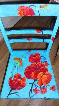 Mischtechnik, Möbel, Stuhl, Acrylmalerei