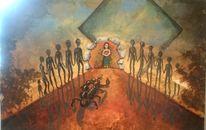 Mädchen, Wüste, Skorpion, Malerei