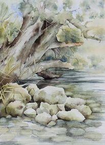 Baum, Wasser, Bielersee, Aquarell