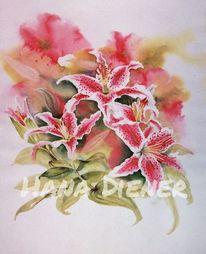 Stargazer, Lilien, Blumen, Aquarelbilder
