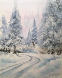 Winterlandschaft, Winter, Aquarellmalerei, Wald