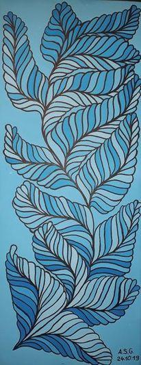 Acrylmalerei, Blau, Pinsel, Abstrakt