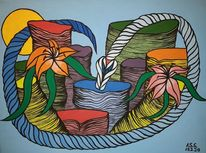 Blumen, Acrylmalerei, Stein, Malerei