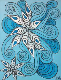 Blau, Acrylmalerei, Malerei, Pinsel