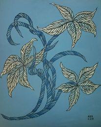 Blüte, Malerei, Blau, Fantasie