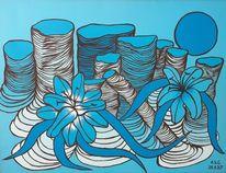 Mond, Malerei, Blumen blau, Fantasie