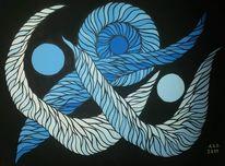 Blau, Welle, Acrylmalerei, Rund