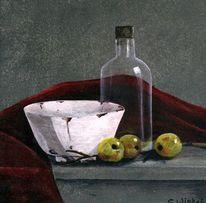 Stillleben, Acrylmalerei, Flasche, Rood