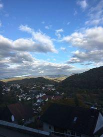 Häuser, Blick, Sonnenaufgang, Berge