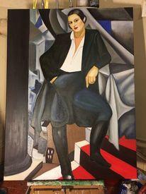 Rot schwarz, Lempicka, Gemälde, Frau