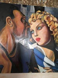 Die idylle homage, Stil, Leinen frau mann, Gemälde