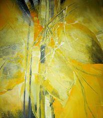 Abstrakt, Blatt und blüte, Acrylmalerei, Gelb