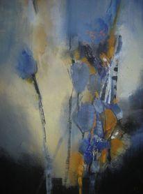 Modern, Blumen, Blau, Abstrakt