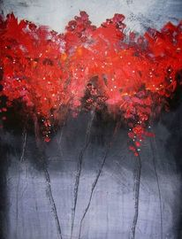 Grau, Blumen, Blaugrau, Rot