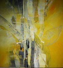 Gelb, Blatt und blüte, Acrylmalerei, Abstrakt