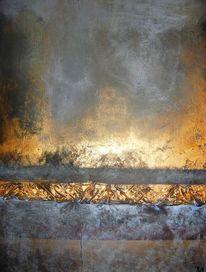 Kupfer, Acrylmalerei, Abstrakt, Blaugrau