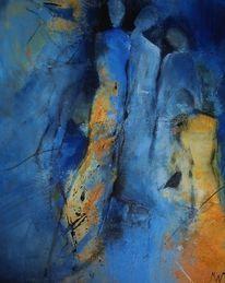 Menschen, Blau, Familie, Acrylmalerei