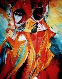 Acryl auf leinwand, Malerei, Menschen, Karneval