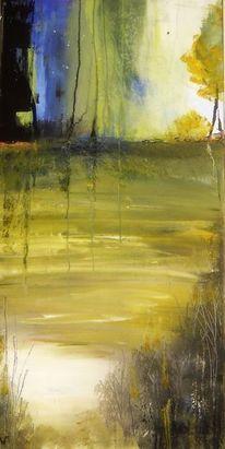 Landschaft, Acrylmalerei, Grün, Malerei