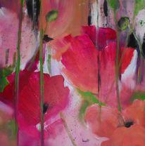Mohn, Rot, Acrylmalerei, Modern