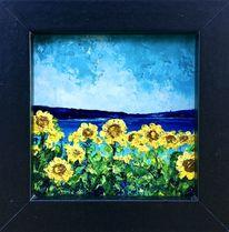 Ölmalerei, Spachtel technik, Sonnenblumen, Malerei