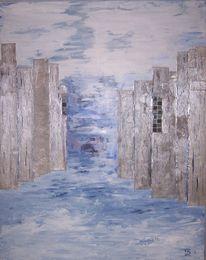 Blau, Silber, Collage, Acrylmalerei