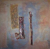Noppenfolie, Strukturpaste, Acrylmalerei, Holzstücke