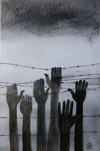 Stacheldrahtzaun, Dunkle wolken, Fliehende menschen, Malerei